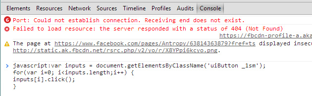 Facebook Chrome Console