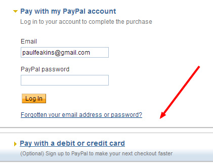 PayPal pay by card