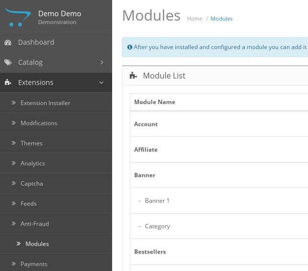 What is the difference between modules and extensions in OpenCart?