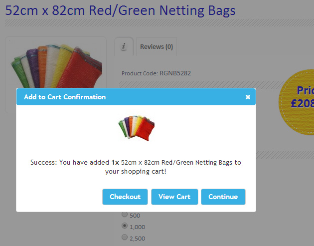 Add to Cart Popup Confirmations in OpenCart